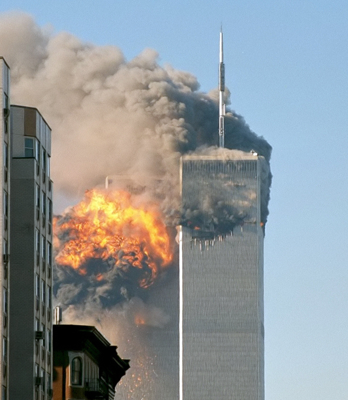 North_face_south_tower_after_plane_strike_9-11